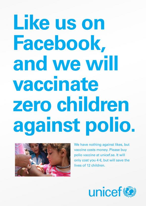 Likes don't save lives // unicef